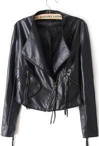 Black Long Sleeve Oblique Zipper Pockets Jacket