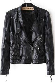 Black Stand Collar Long Sleeve PU Jacket