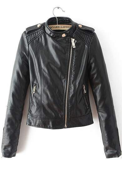 Black Long Sleeve Epaulet Crop PU Jacket