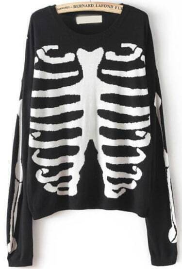 Black Long Sleeve Skeleton Print Knit Sweater