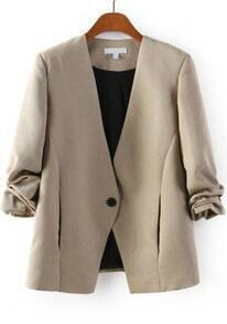 Khaki V Neck Long Sleeve Single Button Blazer