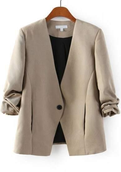 Khaki V Neck Long Sleeve Single Button Blazer