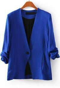 Blue V Neck Long Sleeve Single Button Blazer