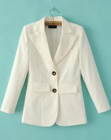 White Notch Lapel Pockets Fitted Blazer