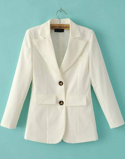 White Notch Lapel Pockets Fitted Blazer