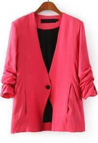 Rose Red V Neck Long Sleeve Single Button Blazer