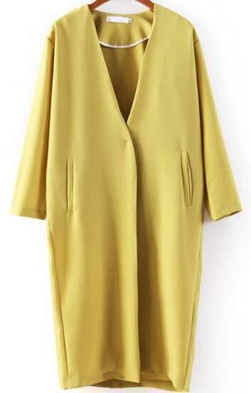 Yellow V Neck Pockets Long Blazer
