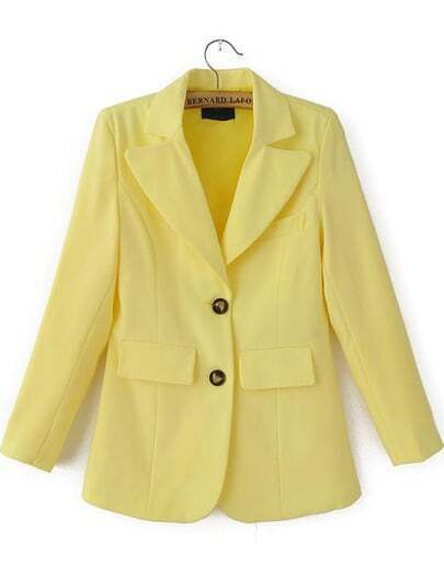 Yellow Notch Lapel Pockets Fitted Blazer