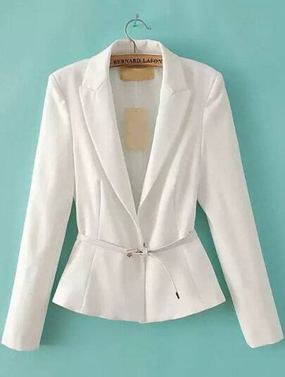 White Lapel Long Sleeve Fitted Blazer