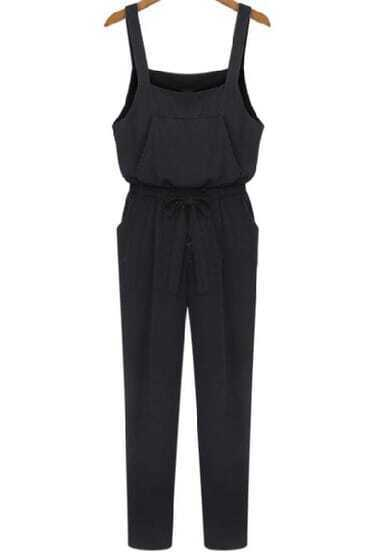Black Spaghetti Strap Belt Pockets Jumpsuit