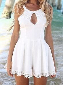 White Lace Splicing Sexy Hollow Skirt Jumpsuit