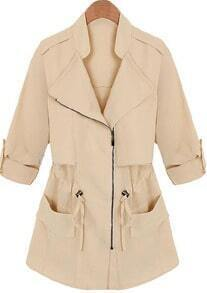Apricot Lapel Long Sleeve Drawstring Pockets Coat