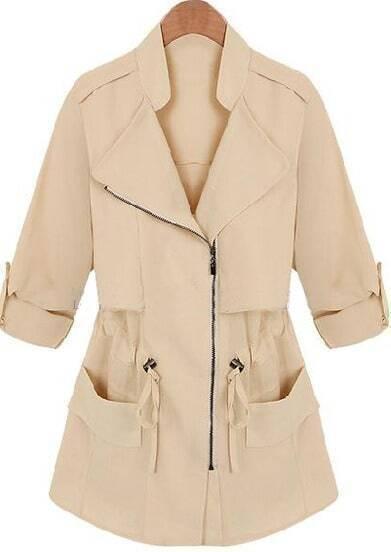 Apricot Lapel Long Sleeve Drawstring Pockets Coat
