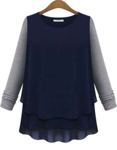 Navy Contrast Grey Long Sleeve Chiffon Blouse
