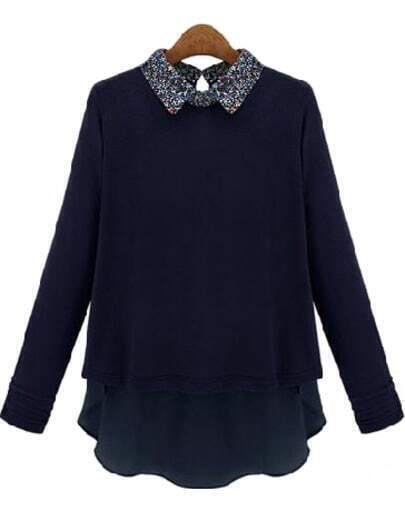 Navy Contrast Floral Lapel Long Sleeve Blouse