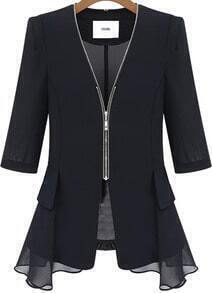 Black V Neck Zipper Fitted Contrast Chiffon Blazer