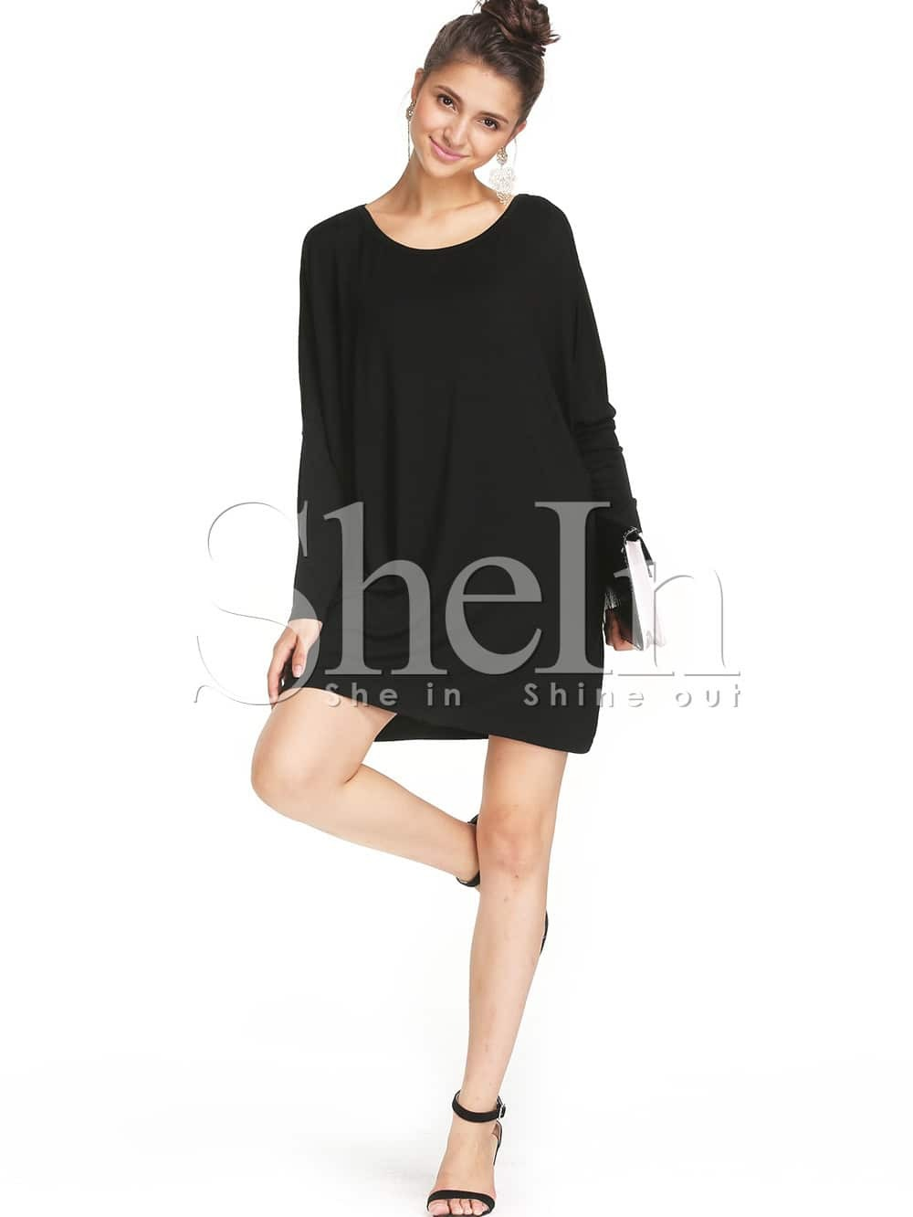 Black dress loose - Black Round Neck Long Sleeve Minimalist Simple Classical Loose Dress Shein Sheinside