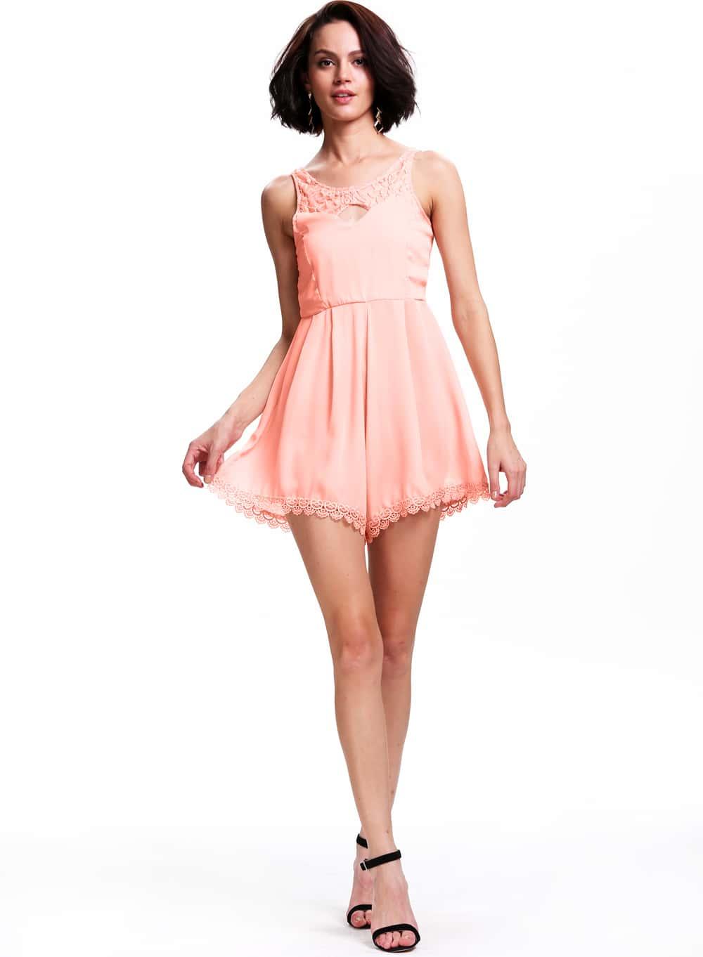 hohler jumpsuit mit spitzen r cken rosa german shein sheinside. Black Bedroom Furniture Sets. Home Design Ideas