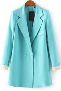 Green Notch Lapel Long Sleeve Fitted Blazer