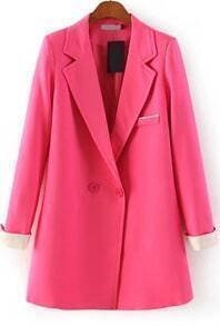 Red Notch Lapel Long Sleeve Fitted Blazer
