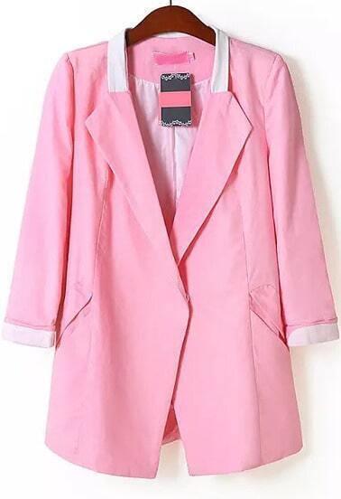 Pink Lapel Long Sleeve Pockets Blazer