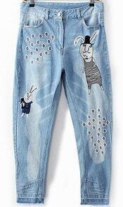 Blue Bleached Embroidered Rabbit Denim Pant