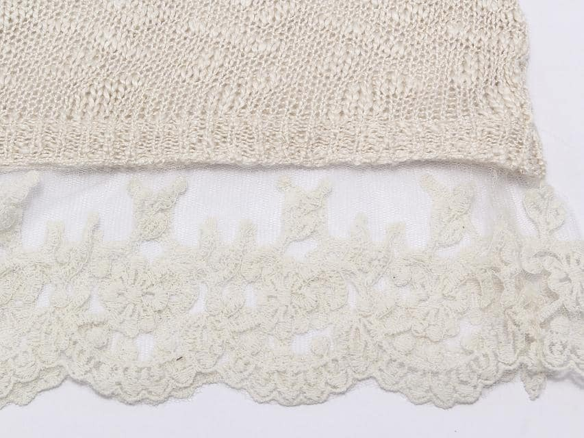 White Long Sleeve Lace Knit Loose Sweater -SheIn(Sheinside)