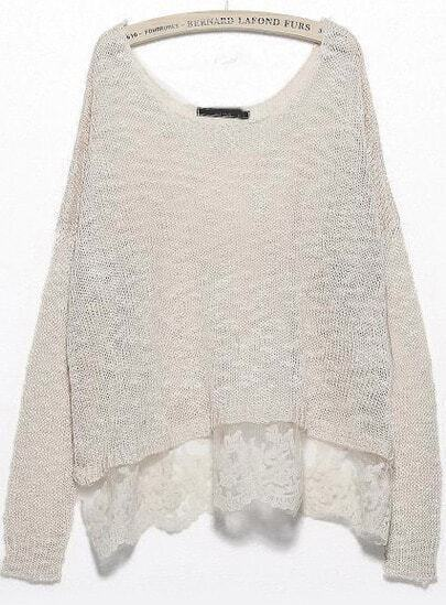 White Long Sleeve Lace Knit Loose Sweater