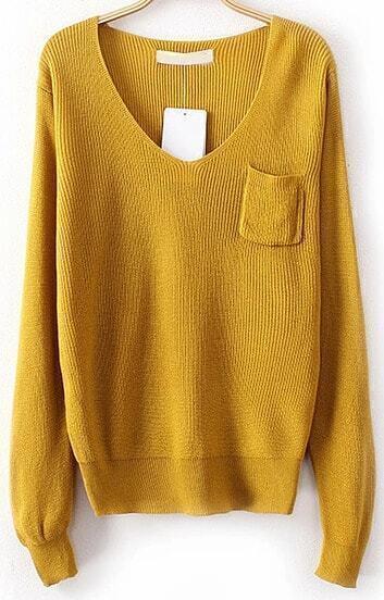 Yellow V Neck Long Sleeve Pocket Knit Sweater