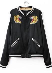 Black Long Sleeve Tiger Embroidered Jacket
