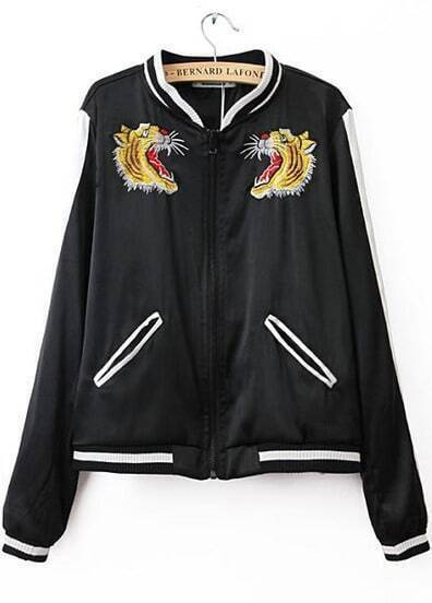 Black Long Sleeve Tiger Embroidered Jacket
