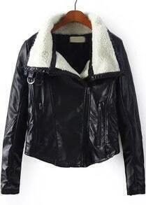 Black Lapel Long Sleeve PU Leather Crop Jacket