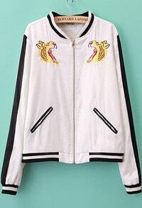 White Long Sleeve Tiger Embroidered Jacket