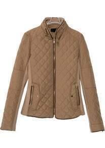 Khaki Stand Collar Diamond Patterned Pockets Coat