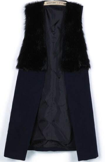 Navy Contrast Fur Sleeveless Split Coat