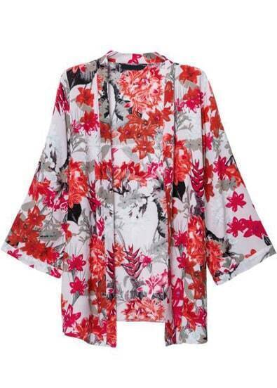 Red Long Sleeve Floral Loose Kimono