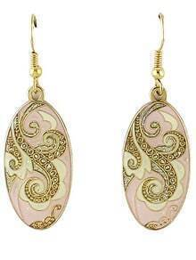 Pink Glaze Gold Vintage Dangle Earrings