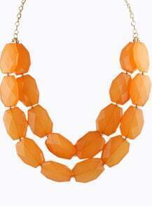 Orange Gemstone Gold Double Layer Chain Necklace