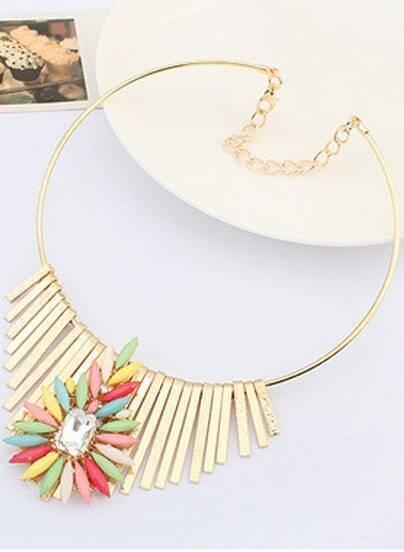 Multicolor Gemstone Gold Tassel Necklace