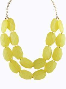 Yellow Gemstone Gold Double Layer Chain Necklace