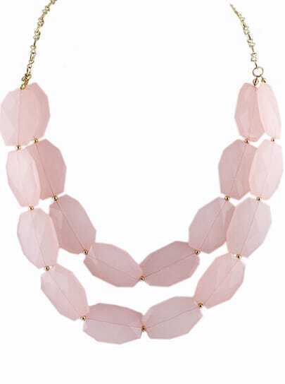 Pink Gemstone Gold Double Layer Chain Necklace