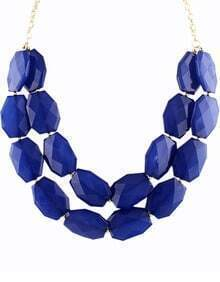Royal Blue Gemstone Gold Double Layer Chain Necklace