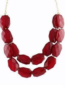 Wine Red Gemstone Gold Double Layer Chain Necklace