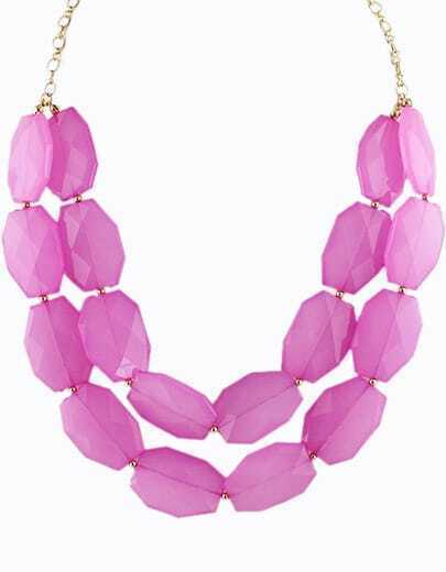 Rose Red Gemstone Gold Double Layer Chain Necklace