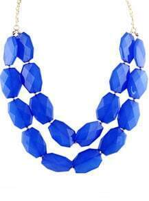 Blue Gemstone Gold Double Layer Chain Necklace