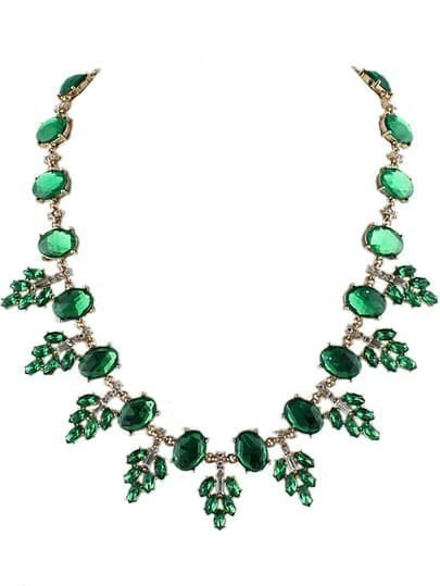 Green Gemstone Gold Leaves Necklace