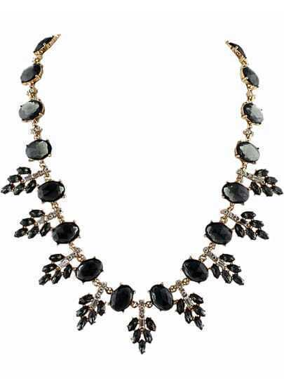 Black Gemstone Gold Leaves Necklace