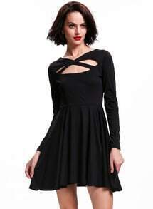 Black Long Sleeve Cross Front Skater Dress