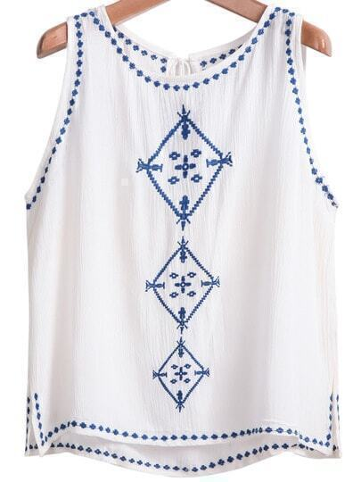 White Sleeveless Embroidered Drawstring Tank Top