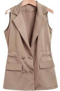 Khaki Notch Lapel Sleeveless Pockets Blazer